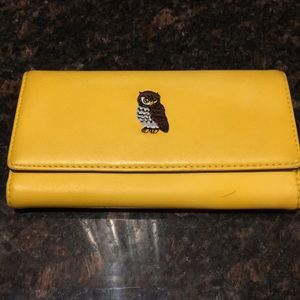 Handbags - Large Yellow Leather Wallet With Embroidered Owl